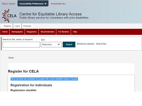 CELA web site image