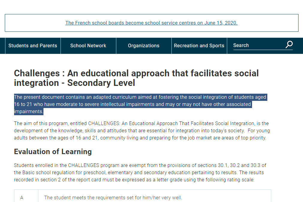 Challenges : An educational approach that facilitates social integration - Secondary Level