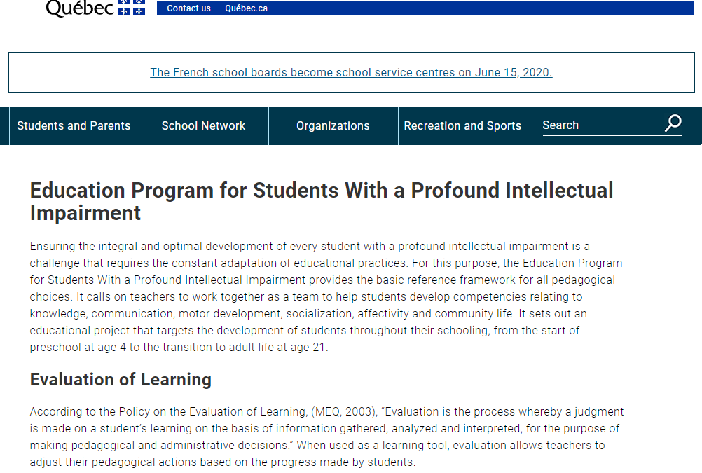 Education Program for Students With a Profound Intellectual Impairment