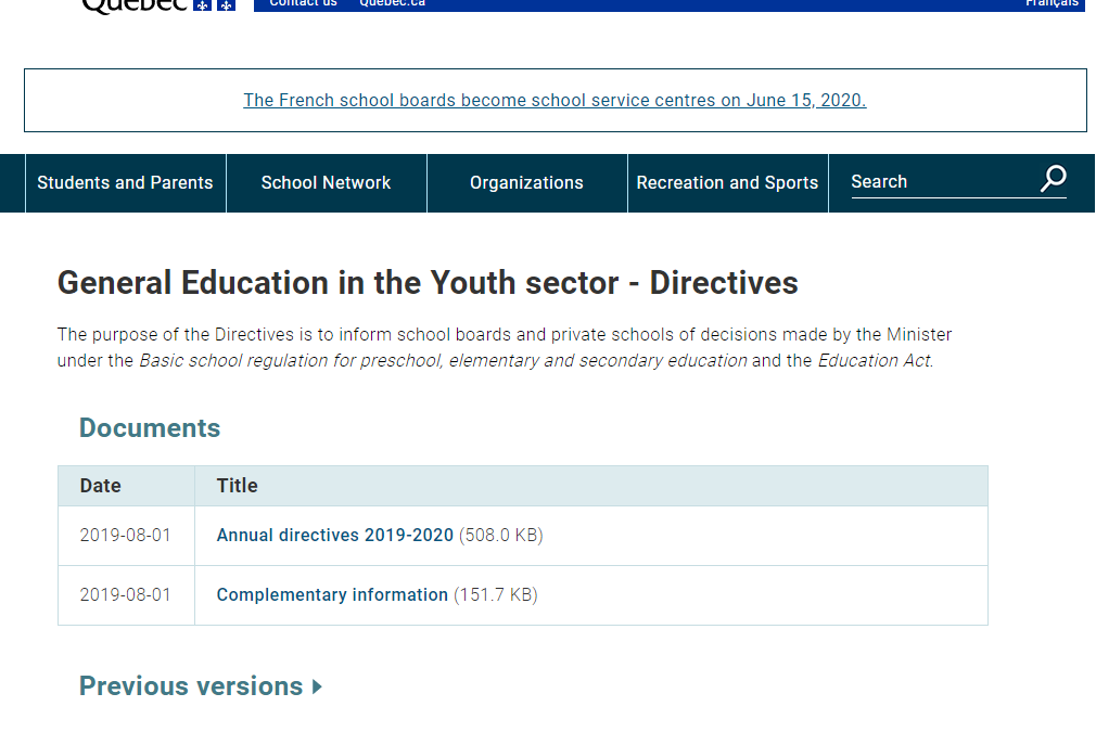 General Education in the youth sector website screnshot